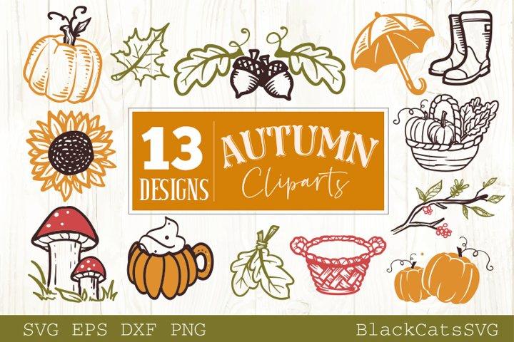 Autumn cliparts 20 designs Fall and pumpkins SVG