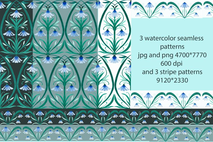 snowdrops 3 watercolor seamless patterns and three stripe