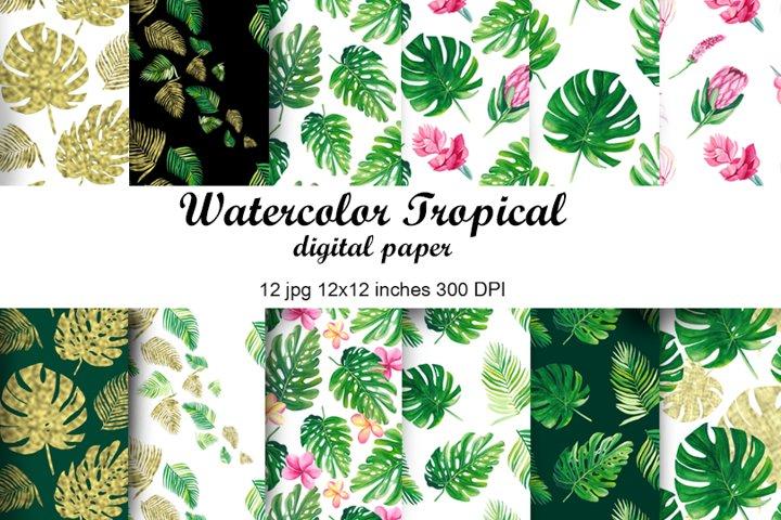 Watercolor tropical digital paper. Greenery seamless pattern