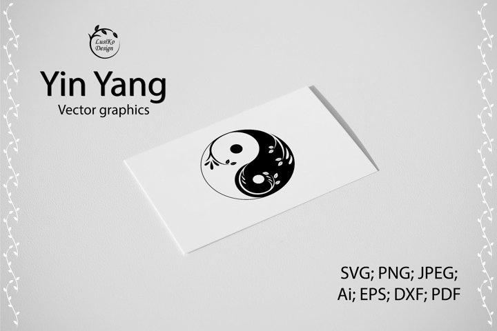 Yin yang logo symbol. SVG, PNG, JPEG, DXF, EPS, PDF