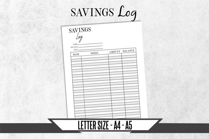 Savings Journal Printable Planner Page