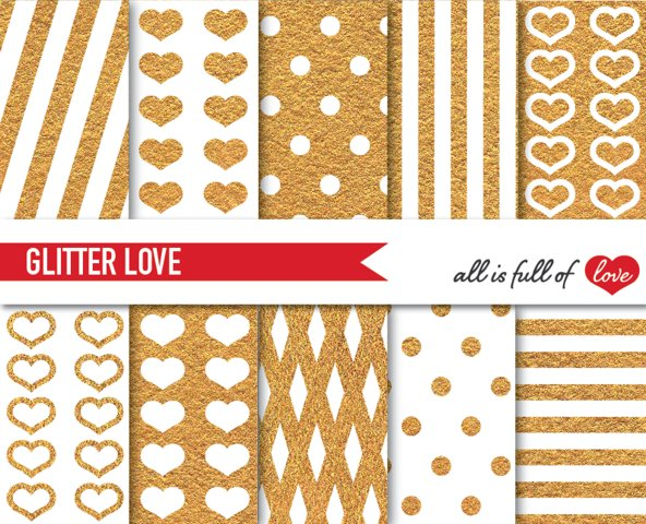 Golden Yellow Background Patterns Glitter Digital Paper Pack