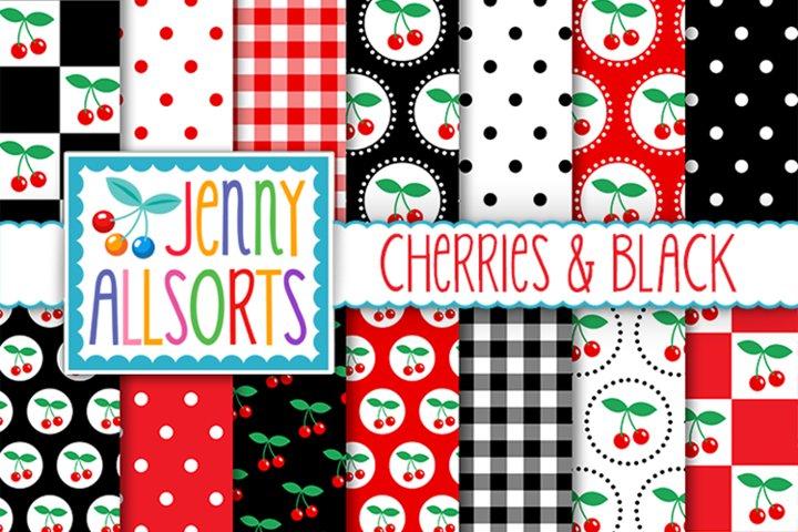 Cherries & Black Patterns, Retro Background Digital Designs