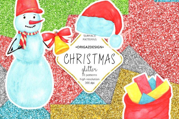 Christmas Glitter Seamless Pattern