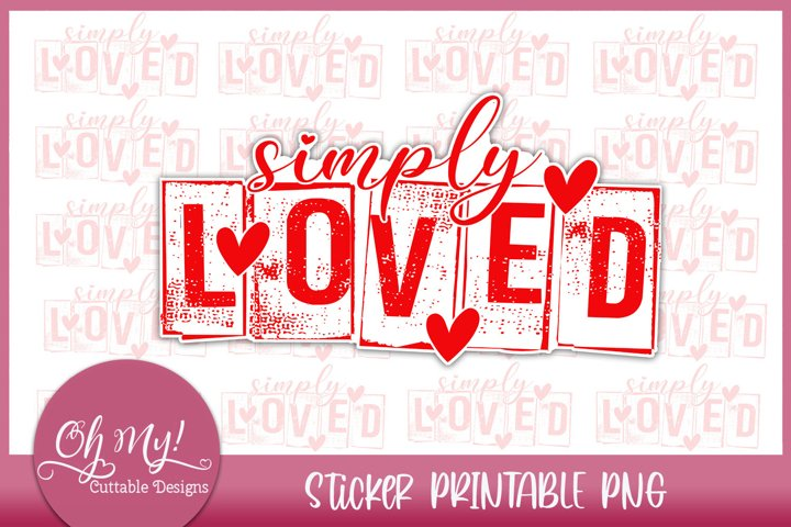 Simply Loved Sticker Printable PNG
