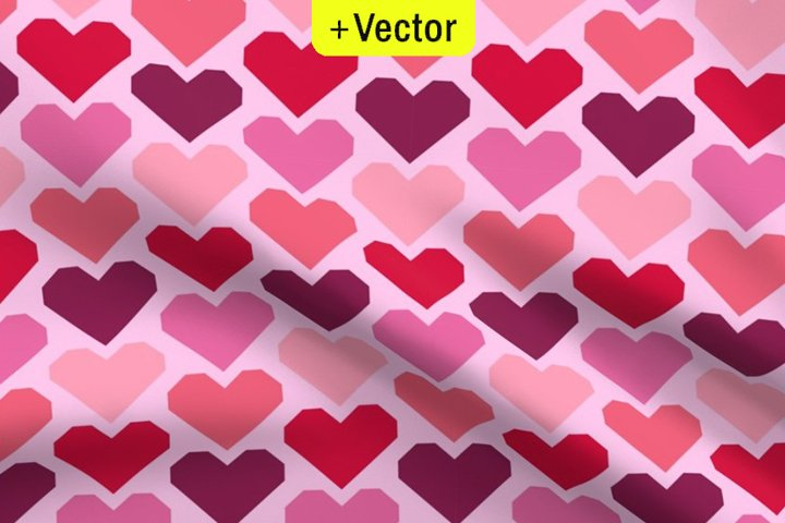 Geometric Hearts pattern seamless Vector pink Valentines