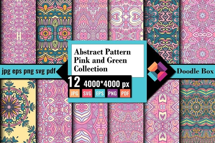 Abstract Pattern Pink and Green Collection Vector