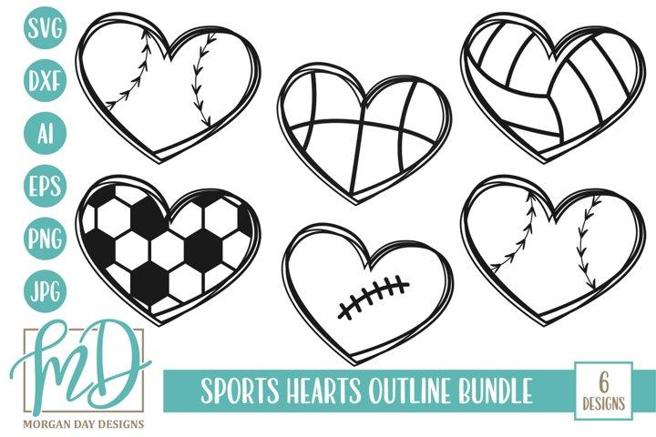 Sports Hearts Outline Bundle SVG, DXF, AI, EPS, PNG, JPEG - Free Design of The Week Font