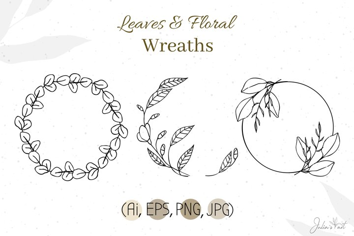 Leaves Floral Wreaths - PNG JPG Ai EPS