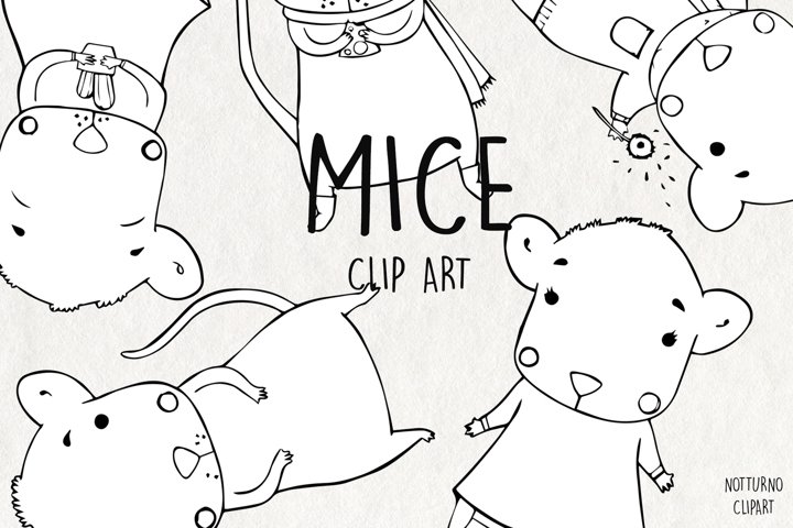 Mouse PNG Clipart. Cute mice digital stamps for scrapbooking