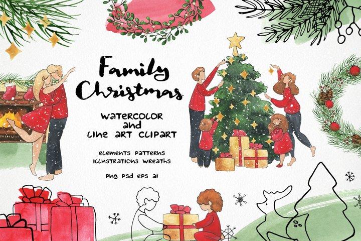 Family christmas clipart - watercolor & vector line art set