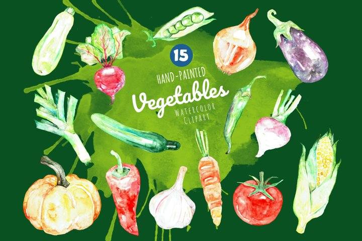 Hand Painted Watercolor Vegetables Clipart