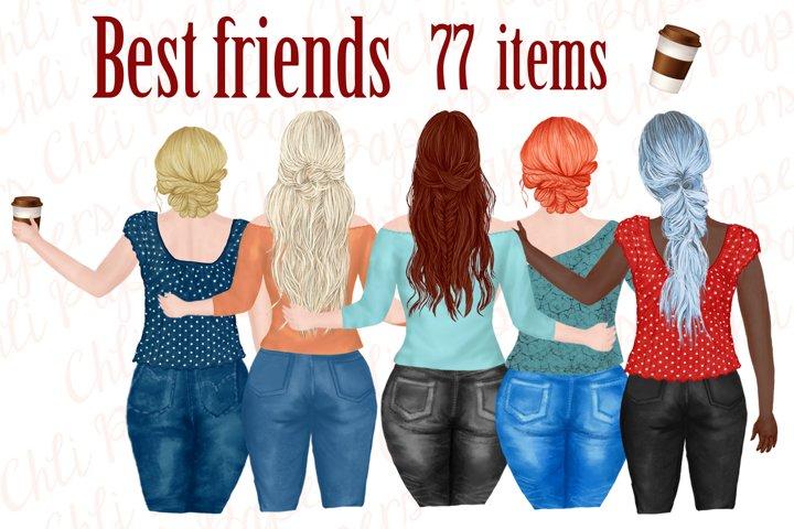 Best Friends Clipart,Plus size girls, Portrait Creator