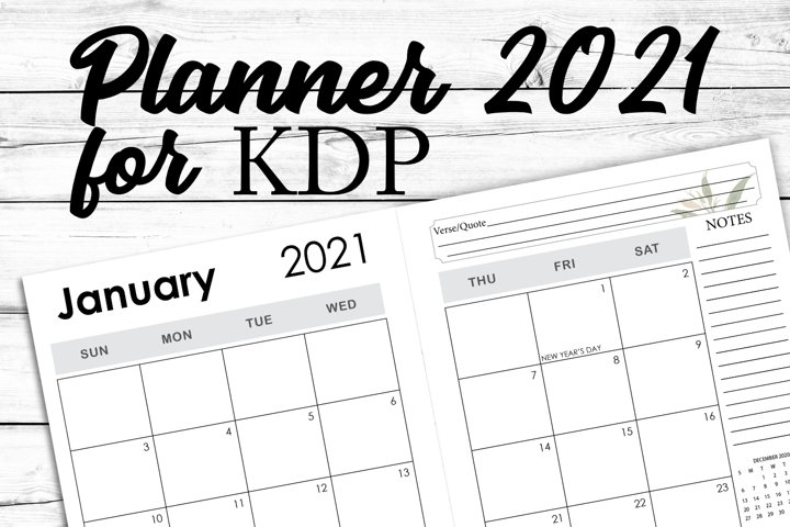 KDP Planner 2021 Interior Monthly Weekly and Year in Review