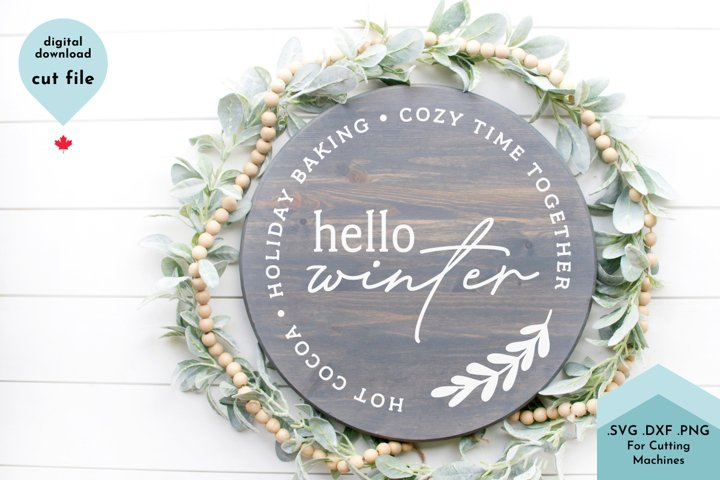 Hello Winter - Holiday SVG, Christmas Sign Svg