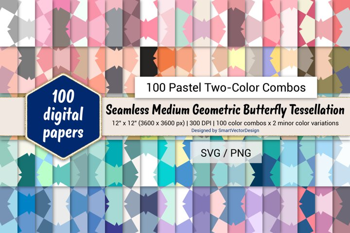 Geometric Butterfly Tessellation-100 Pastel Two-Color Combos