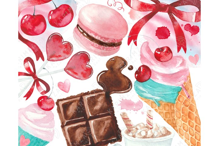 Valentines Day clipart watercolor, cherry sweets clip art