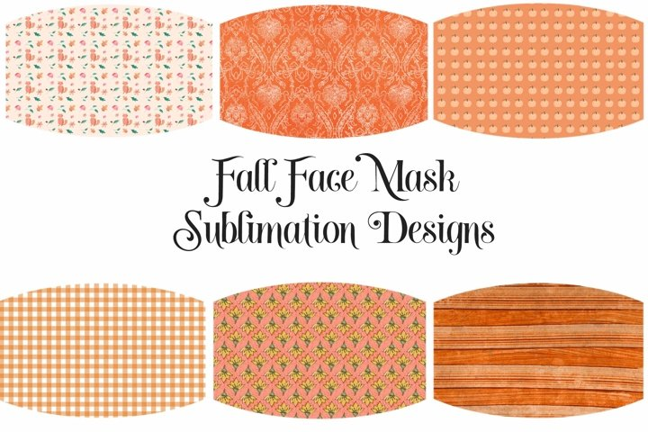 Face Mask Sublimation Designs Fall Orange Colors PNG Files