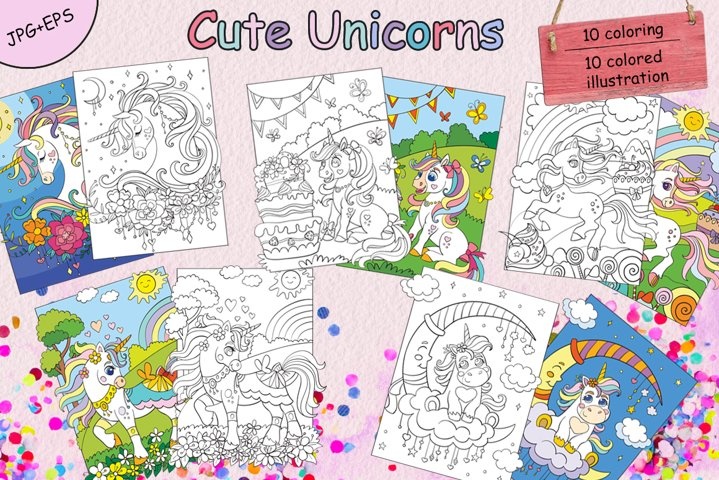 Coloring book pages for children Cute Unicorns