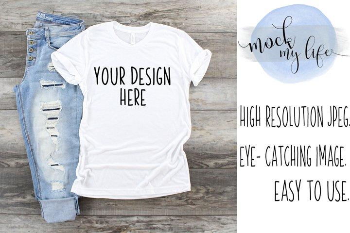 White Bella Canvas Mockup / Plain Shirt Mock up