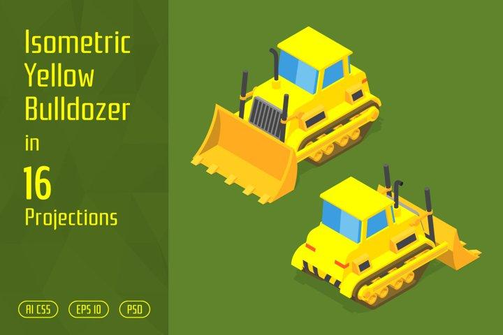 Isometric Yellow Bulldozer
