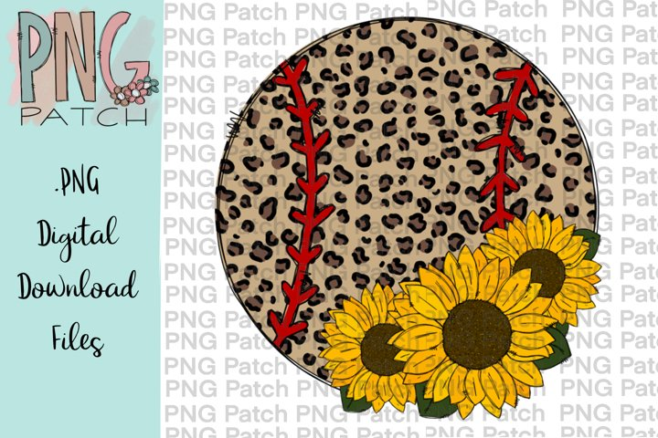 Leopard Print Softball with Sunflower, Softball PNG File