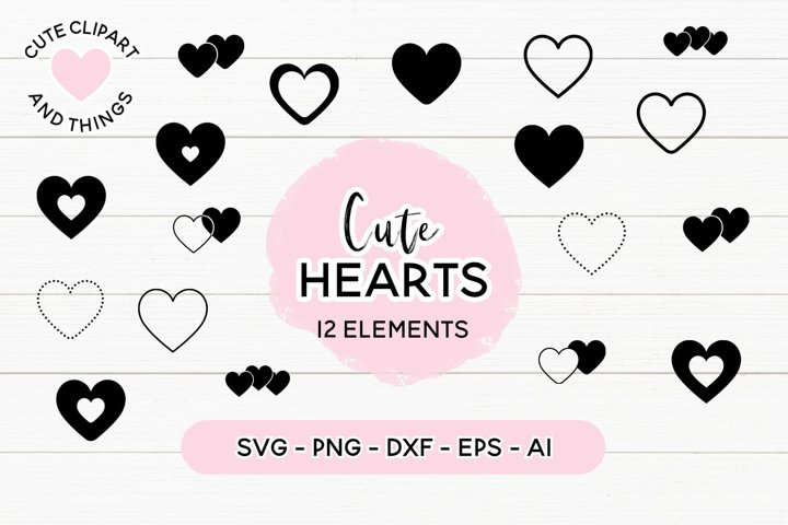 Heart SVGs| Hearts SVG Set | 12 Elements