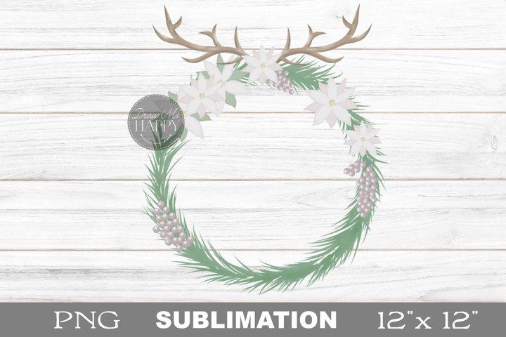 Boho Wreath Clipart, Boho Wreath Png, Christmas Antlers png