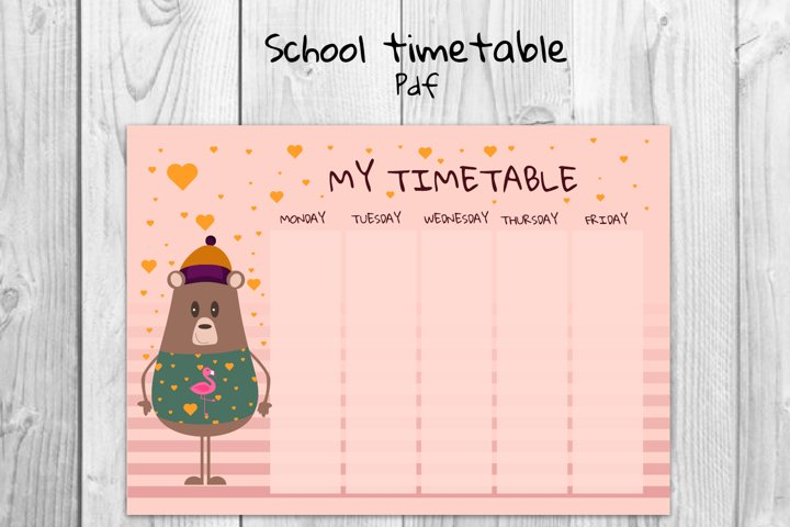 School timetable, Bear timetable