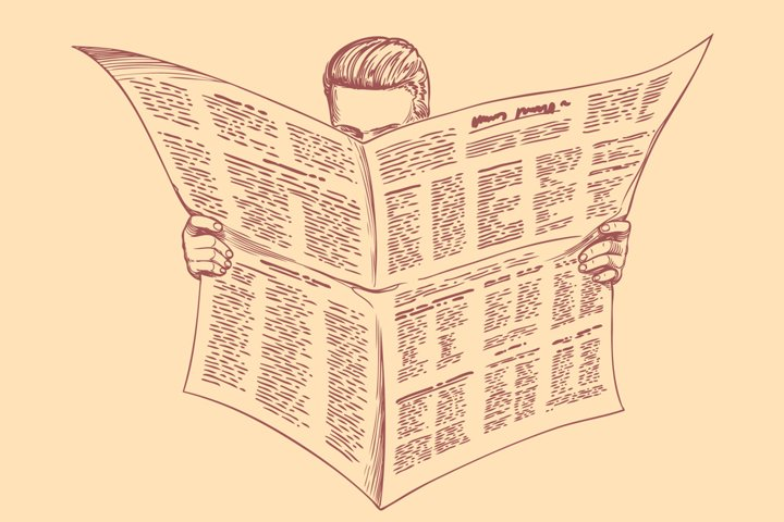 The reader of the newspaper. Vector engraving.