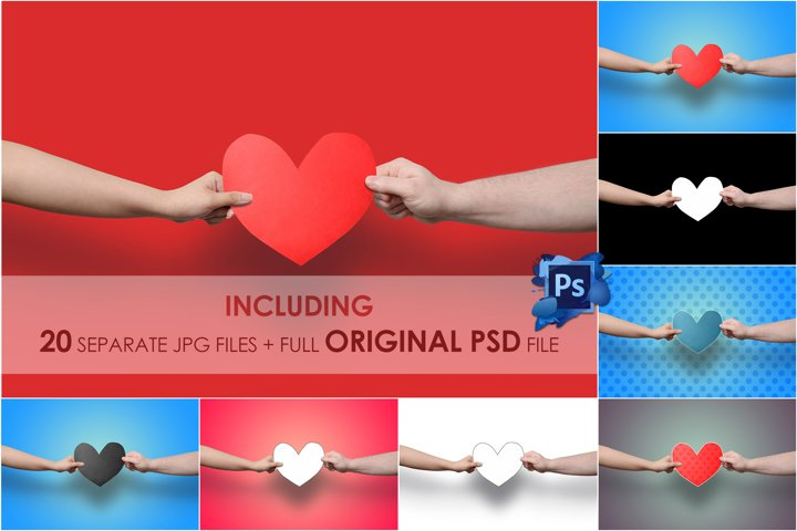 Hands Holding Heart, Paper Cut Out Love, Stock Photo, PSD