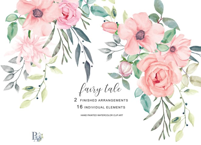 Blush Watercolor Flowers Clipart