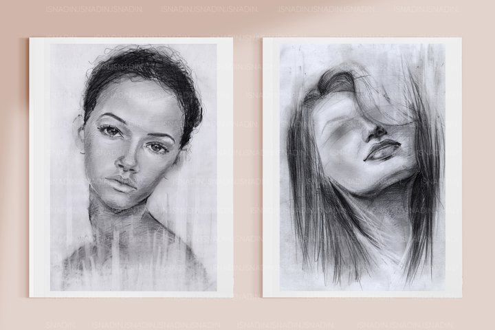 2 Portraits of girls in pencil. Graphic drawings. Strokes