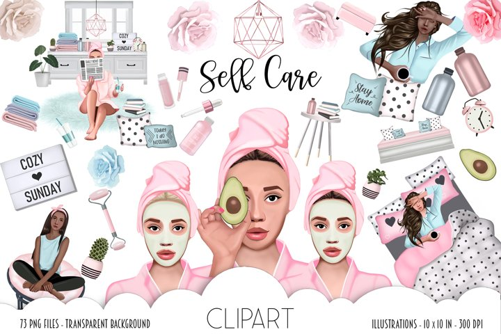 SELF CARE Clipart, Stay Home Fashion Illustration