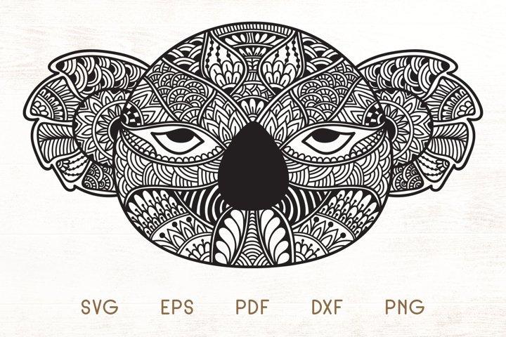 Zentangle Koala Head SVG - Doodle Art Koala
