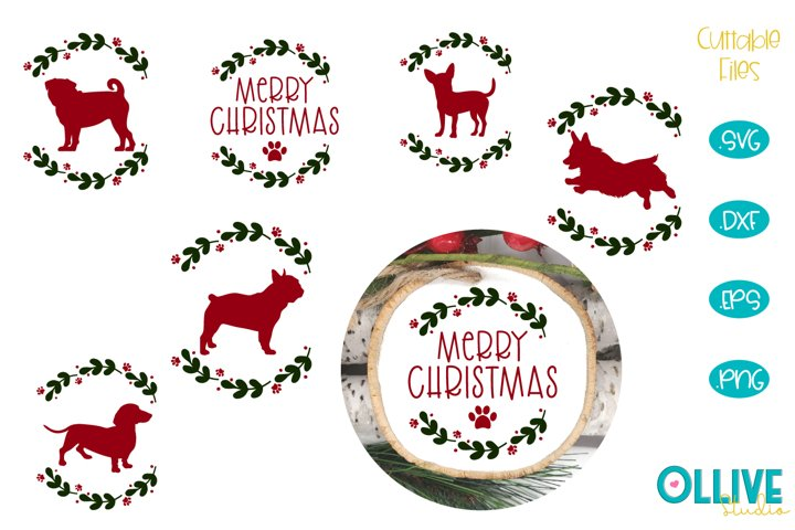 Dog Christmas Round Ornament Bundle SVG