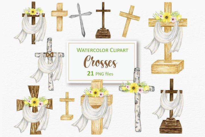 Watercolor Catholic wood Cross PNG Clipart, Baptism card