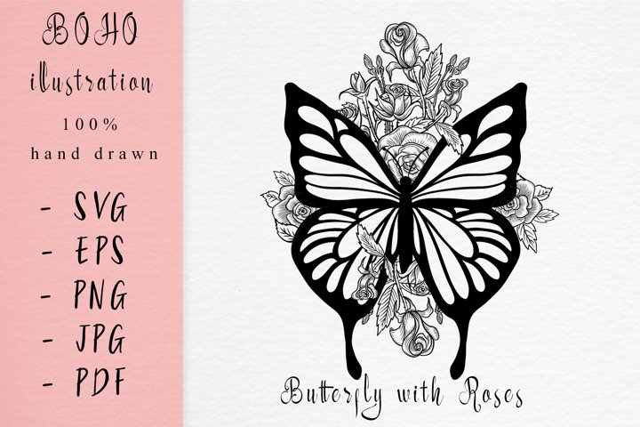 Boho illustration / Butterfly with roses