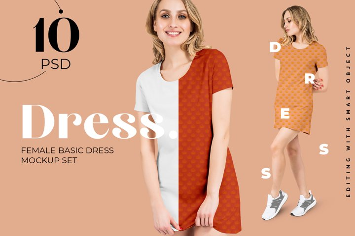 Female Basic Dress Mockup Set for Fabric design presentation