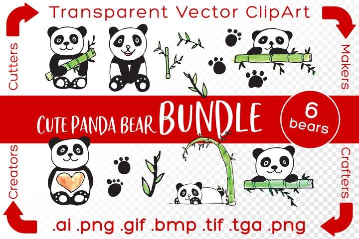 Cute Panda ClipArt Bundle Vector Illustration Bears & Bamboo