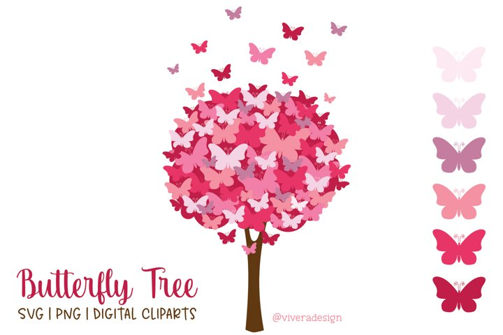 Butterfly Tree PNG SVG Pomegranate Pink