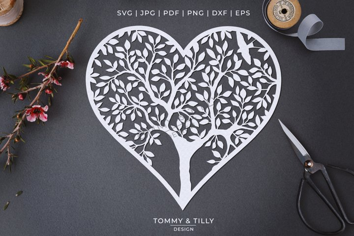 Heart Tree - Papercut Template SVG EPS DXF PNG PDF JPG example