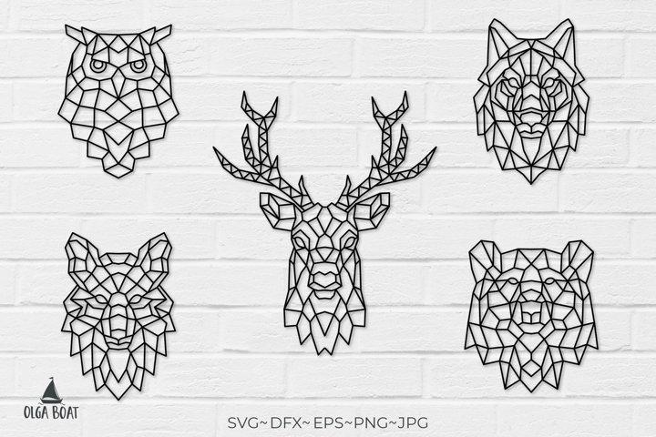 Geometrical animals Owl svg Wolf svg Deer svg Bear svg Fox