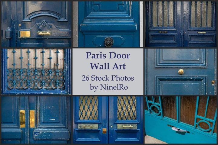 Paris door wall art set of 26 photos. Vintage blue doors