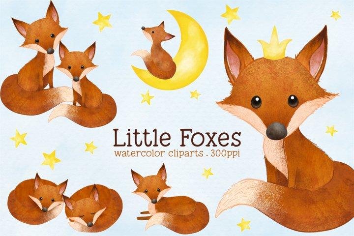 Little Fox Watercolor Animal Clip Arts - Foxes, Moon, Stars