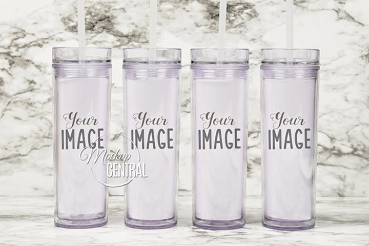 Four Matching Cup Mockup Tumblers 16 oz on Table Top, JPG