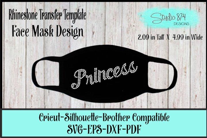 Face Mask Rhinestone SVG Template - R1 - Princess