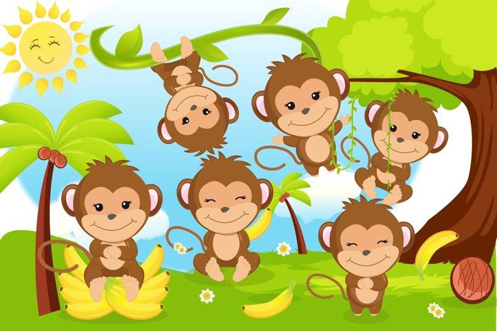 Monkey clipart, Monkey boy illustrations