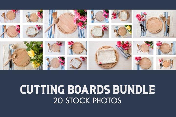 Cutting Boards Bundle, Wood Round Layflat Mockup Bundle