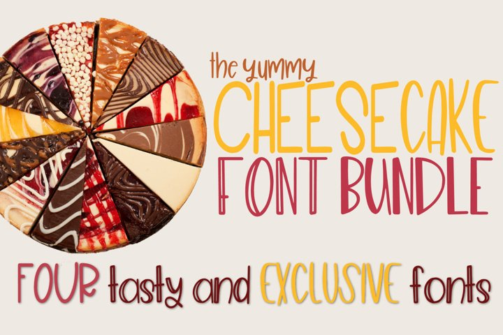 The Cheesecake Font Bundle - 4 Exclusive Fonts